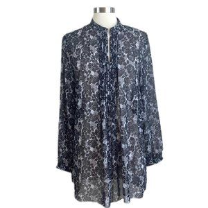 Ann Taylor LOFT Black Floral Sheer Print Long Slee